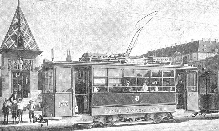 Basel tram on Mittlere Bruecke in 1919