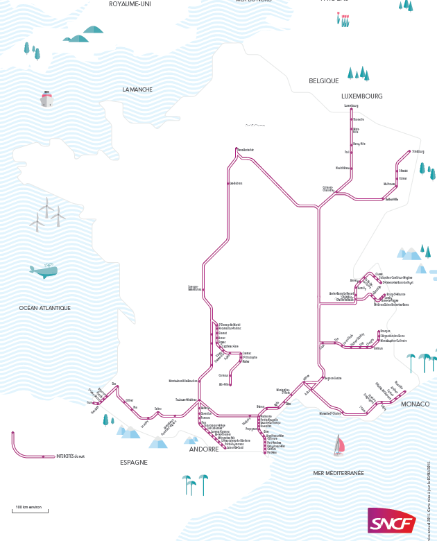 SNCF night train map