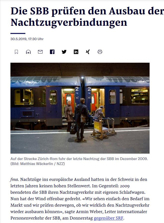 Die SBB pruefen den Ausbau der Nachtzugverbindungen (NZZ)