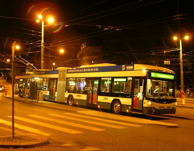 Lightram double-articulated trolleybuses at Hegibachplatz
