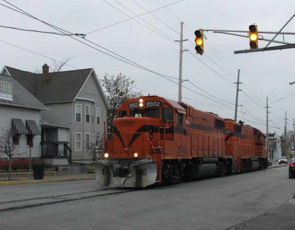South Shore Line Michigan City freight locomotives street running