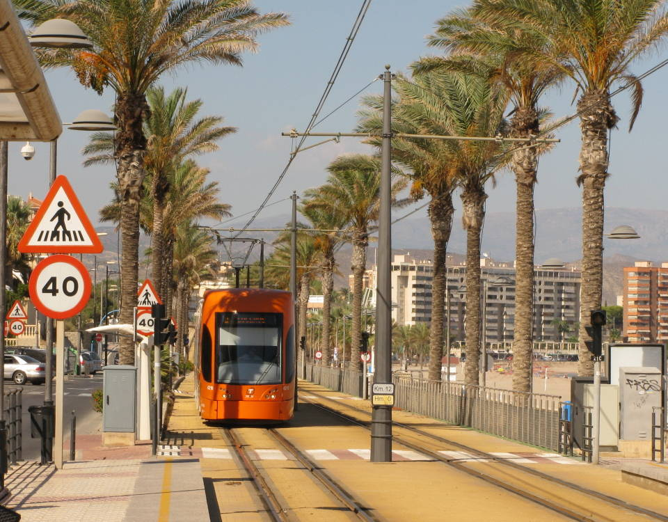 Alicante tram on the seafront at Muchavista