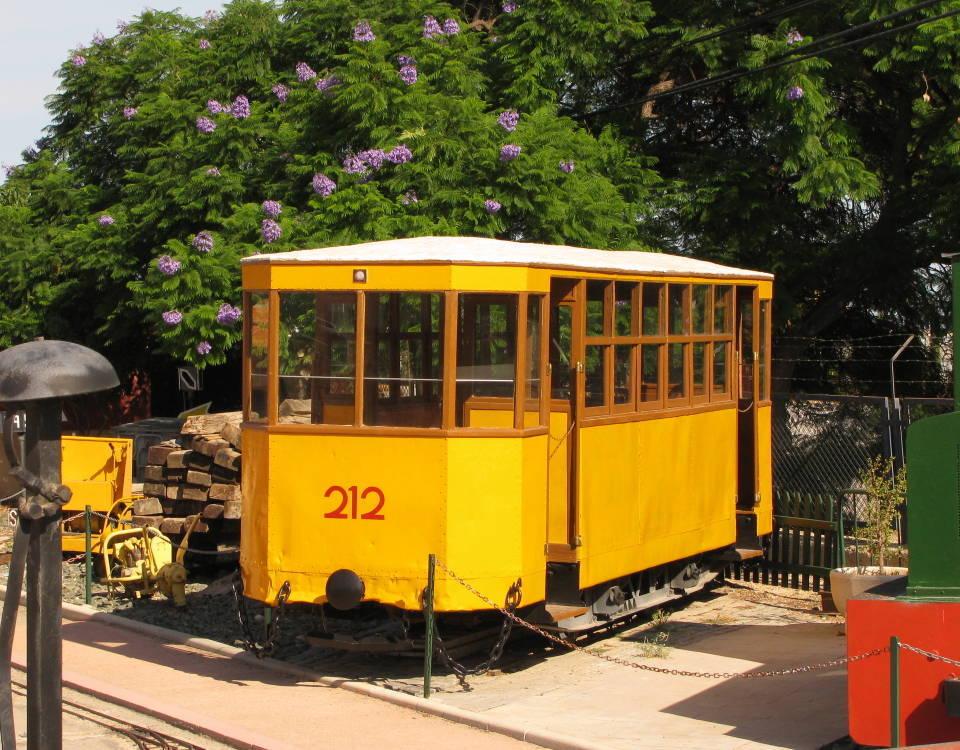 Alicante tram 212 in museum at Torrelano