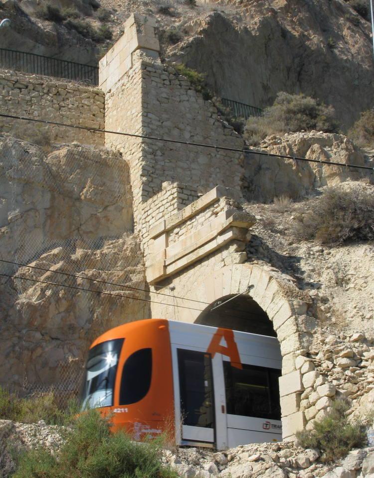 Alicante tram leaving old tunnel near Finca Adoc