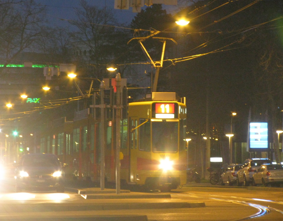 Basel BLT tram at night