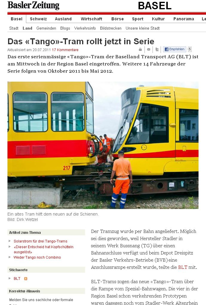 basler zeitung article on delivery of first production tango tango basel blt