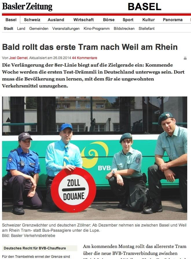 Basel Weil tram Basler Zeitung