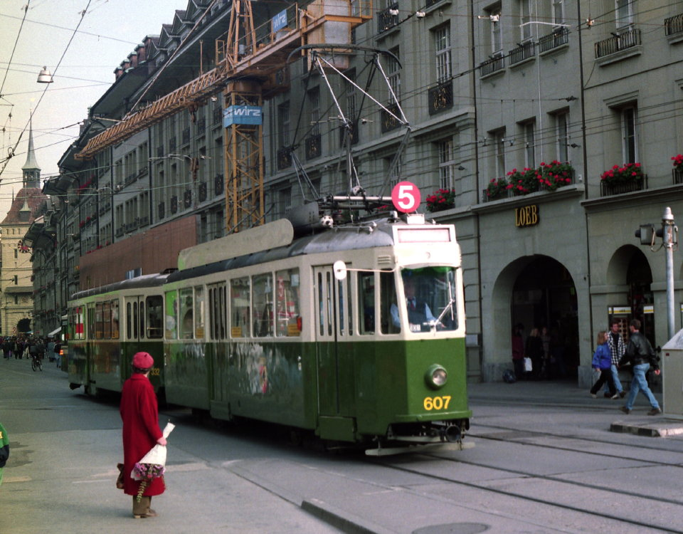 Standard tram on Marktgasse in Bern