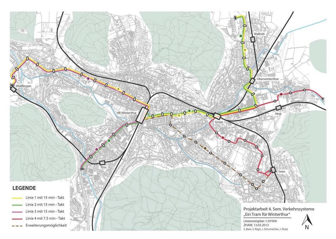 Winterthur tram map