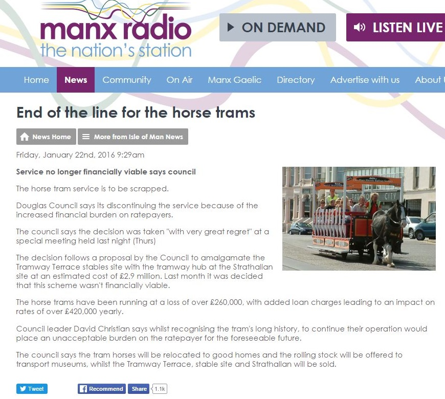 Douglas horse trams to end manx radio