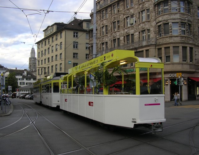 zurich open trailer tram 1971