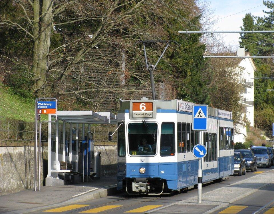 Tram at Zurichbergstrasse stop