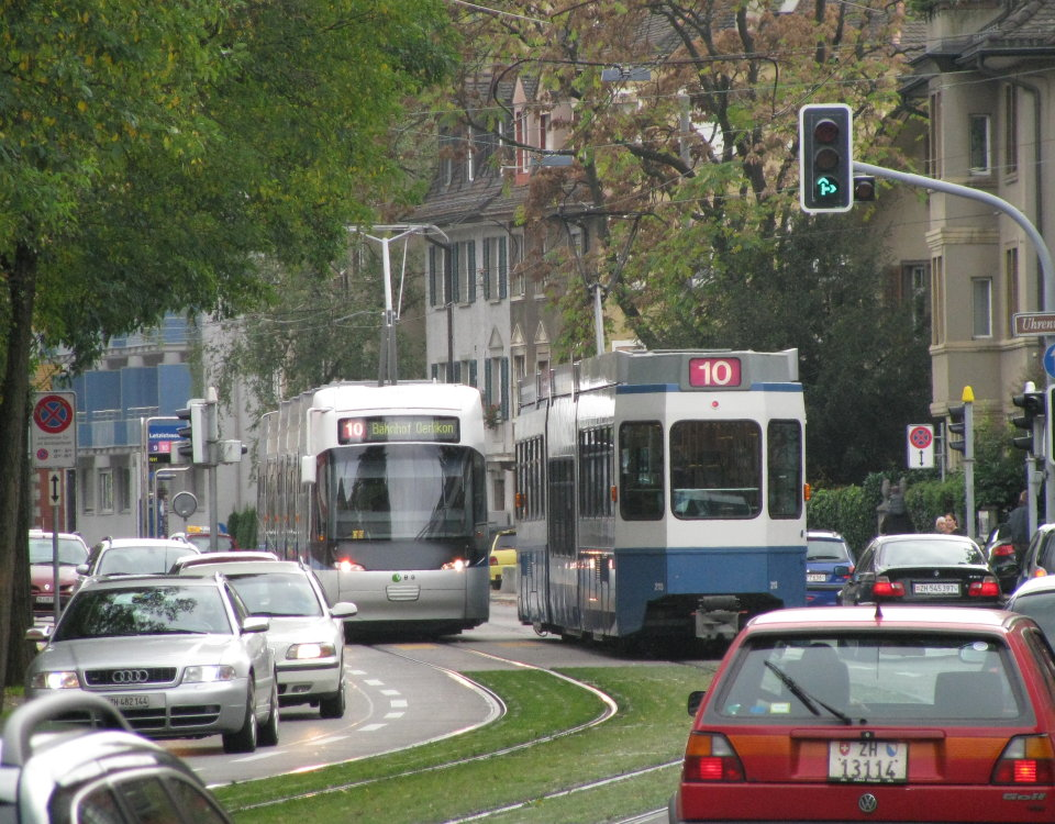 cars and trams on winterthurerstrasse in zurich