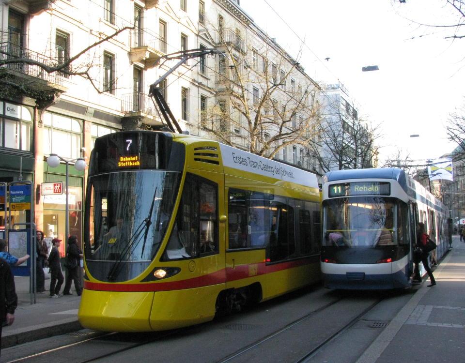 BLT Tango tram and VBZ Cobra Bahnhofstrasse