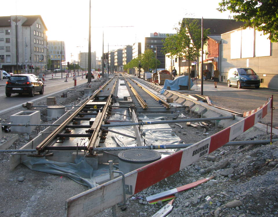 track work on Pfingstweidstrasse