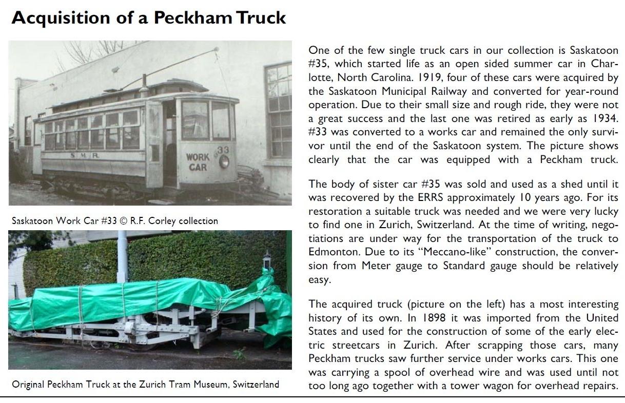 Acquisition of a Peckham truck