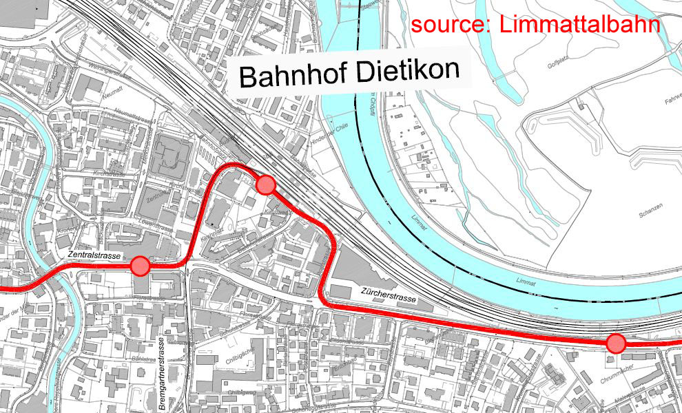 map of Limmattalbahn in Dietikon