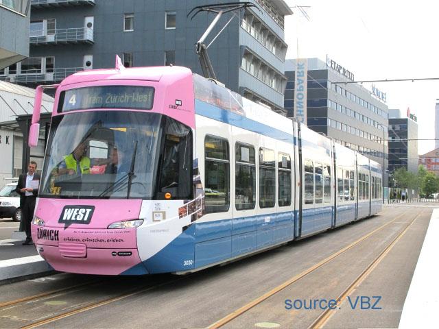 Wrap-round adverising for Tram Zuerich West