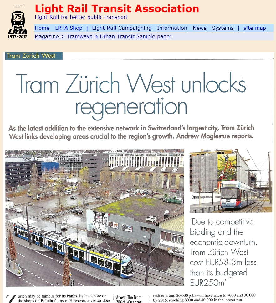 Tram Zürich West unlocks regeneration article TAUT