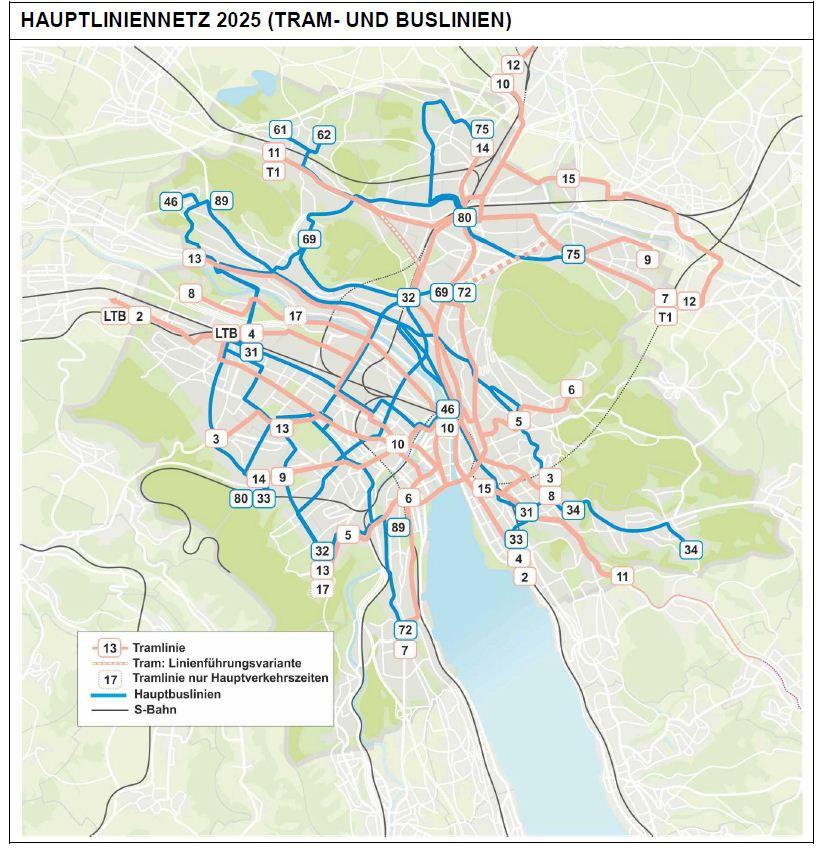 VBZ Hauiptliniennetz 2025