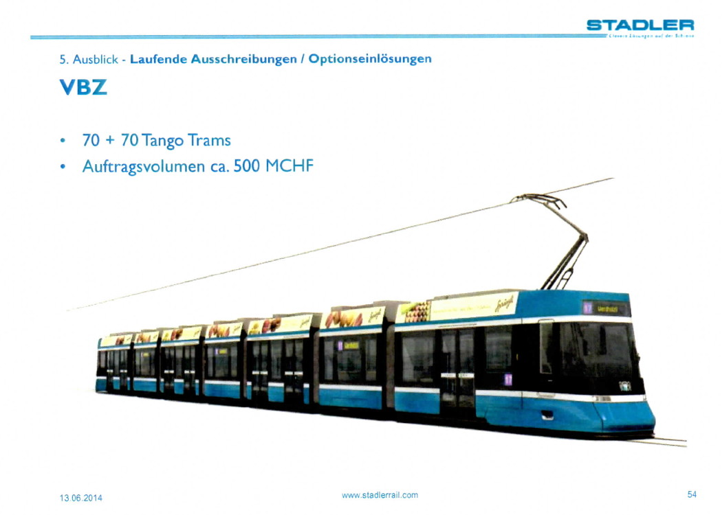Stadler tram for Zurich