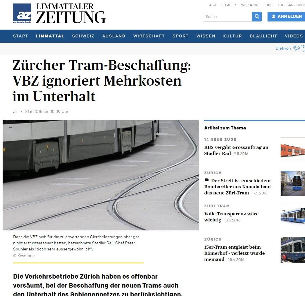 Limmataler Zeitung Zuercher Tram-Beschaffung VBZ ignoriert Mehrkosten im Unterhalt