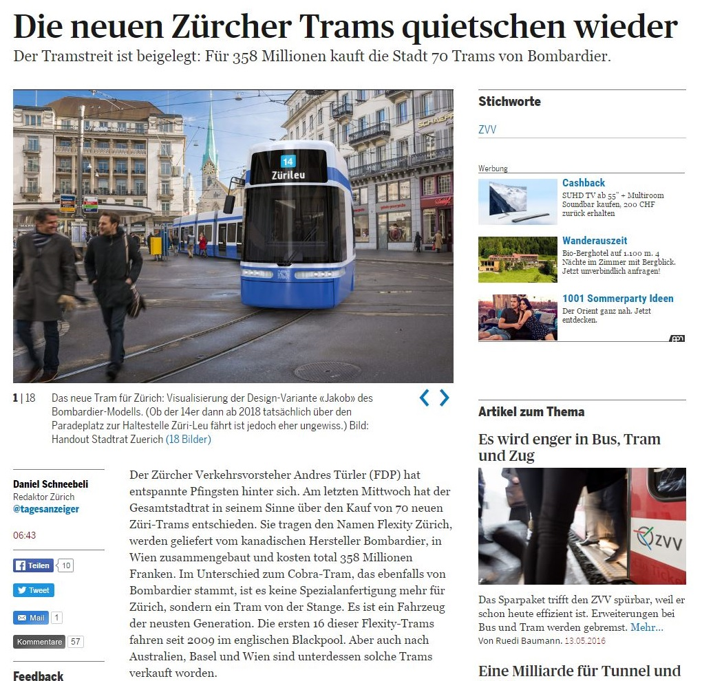 Tages Anzeiger article on Bombardier flexity for Zurich