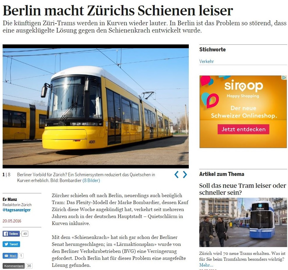 Tages Anzeiger article Berlin solution for Zurich tram squeal