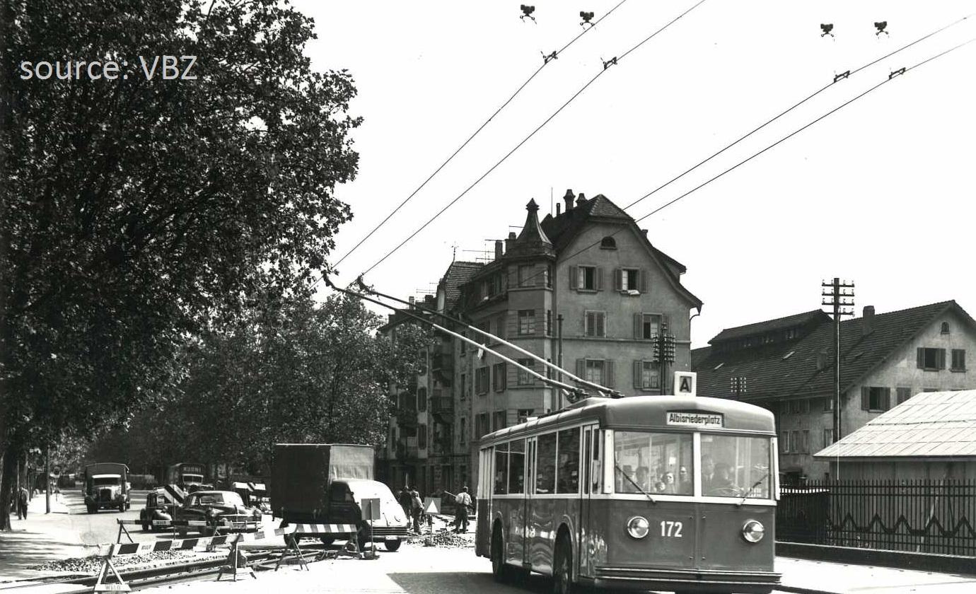Trolleybus Hardbruecke 1950