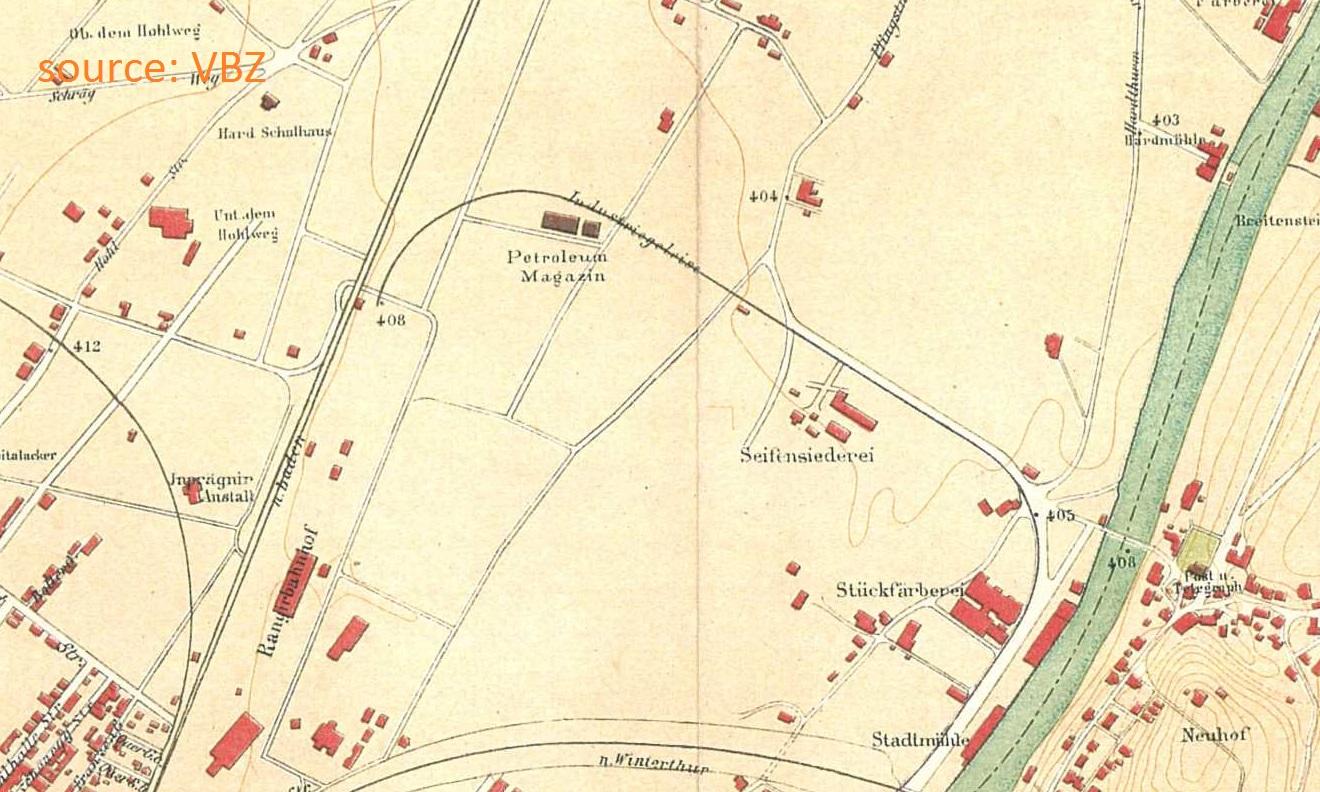 Tram Hardbruecke 1889 map