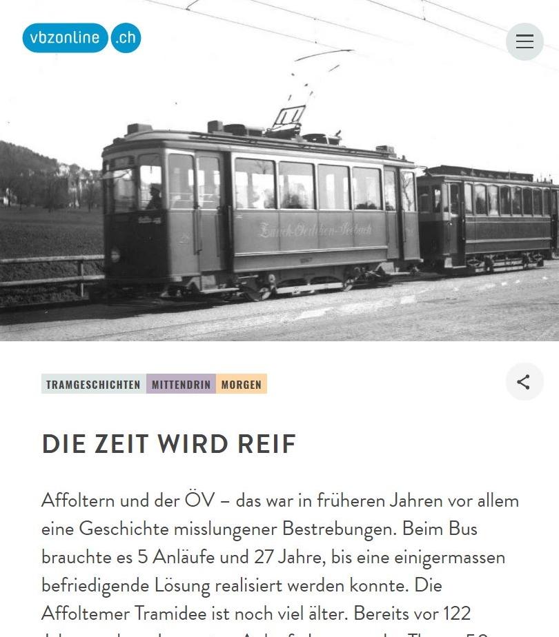 VBZ tram Affoltern die zeit wird reif
