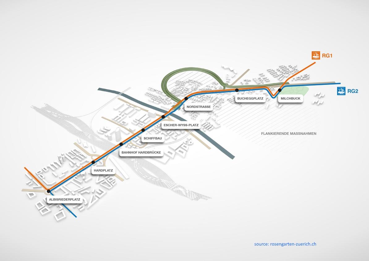 Rosengarten tram map