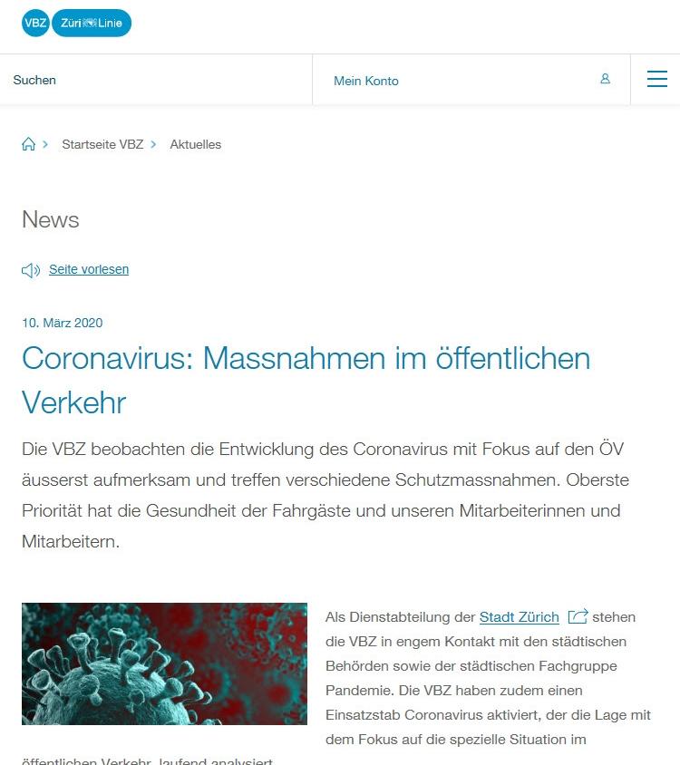 VBZ Corona virus