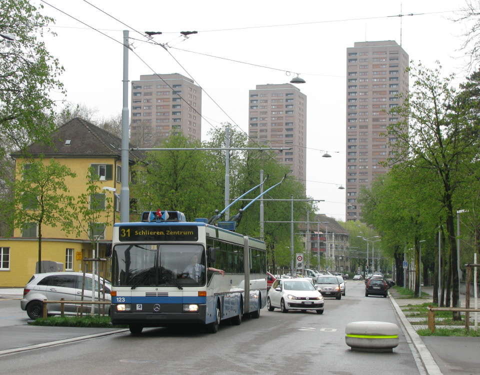 ABB Mercedes O405 GTZ trolleybus farewell tour at Zwingliplatz