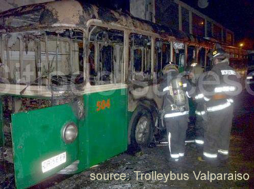 Burnt out FBW trolleybus in Valparaiso exterior