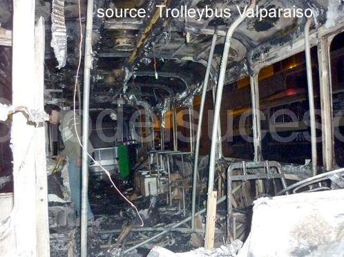 Burnt out FBW trolleybus in Valparaiso interior