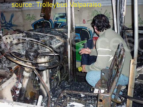 Burnt out FBW trolleybus in Valparaiso cab