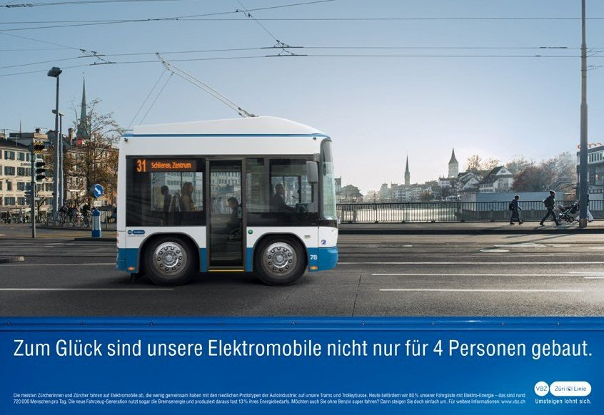 Mini trolleybus VBZ advert