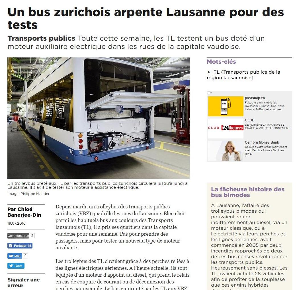 VBZ trolleybus in Lausanne
