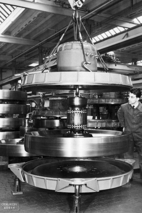 1950s gyro flywheel being assembled